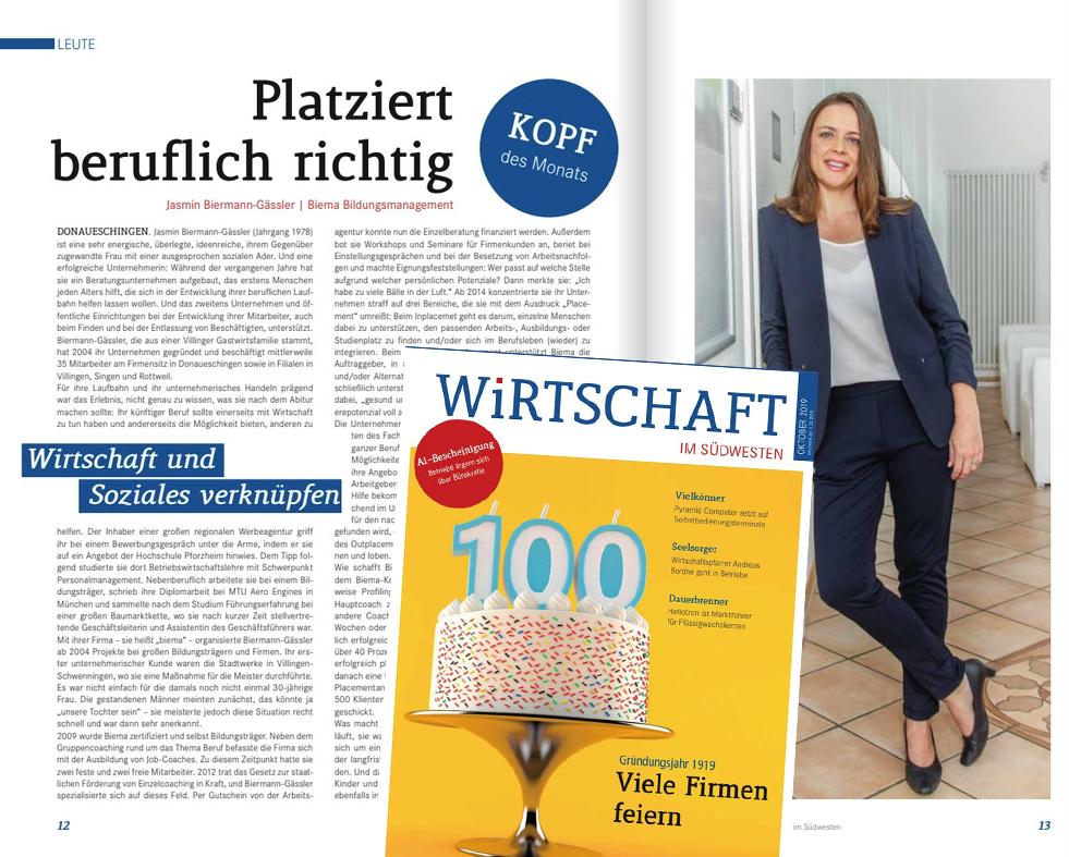 IHK Magazin Wirtschaft im Südwesten: Kopf des Monats - Jasmin Biermann-Gässler